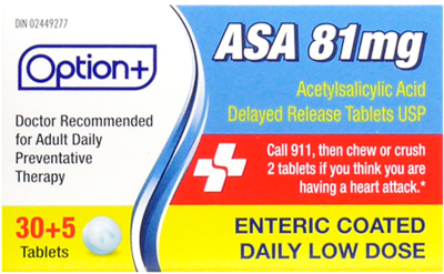 Option+ ASA 81MG LOW DOSE TABLETS 30+5 [Generic Version]
