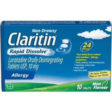 Claritin Non-Drowsy Allergy Rapid Dissolve Mint Flavour x 10 Tabs