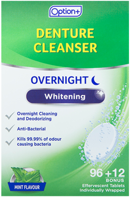 Option+ DENTURE CLEANSER OVERNIGHT WHITENING 108 TABS