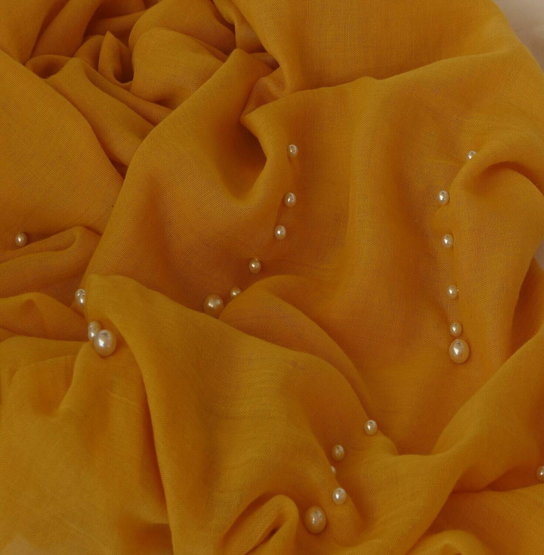 Hidjab moutarde perlé
