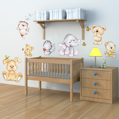 Cute Animals Self-Adhesive Wall Sticker