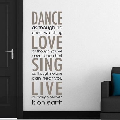 Dance Love Sing Live Self Adhesive Wall Quote
