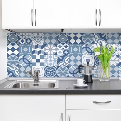 Blue Cementine Self Adhesive Backsplash