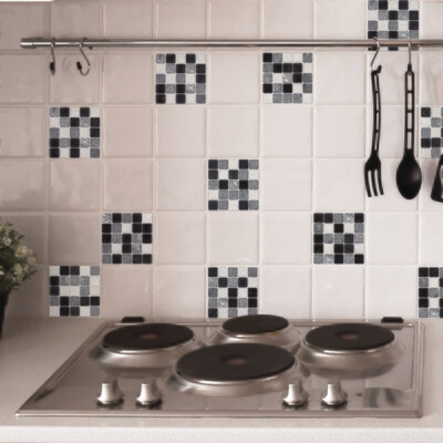 Big White & Black Self Adhesive Tile Cover