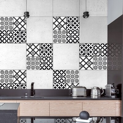 Black & White Azulejos Self Adhesive Tile Cover