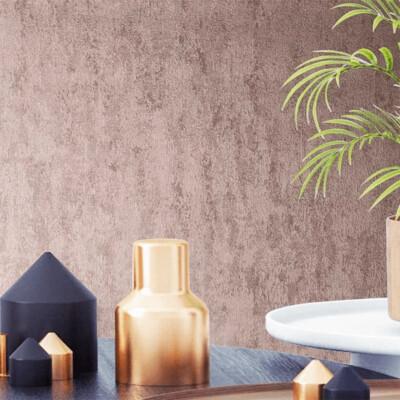 Molten Rose Gold Plain Textured Wallpaper