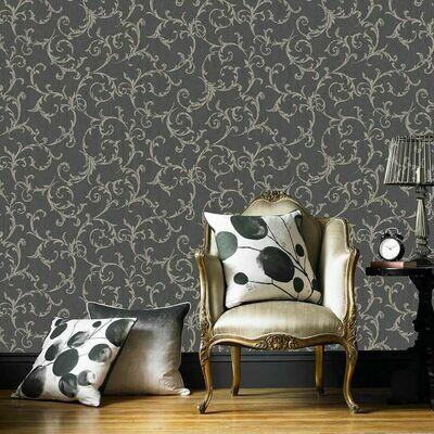 Empress Scroll Black And Gold Wallpaper