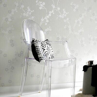 Cherry Blossom White And Mica Wallpaper