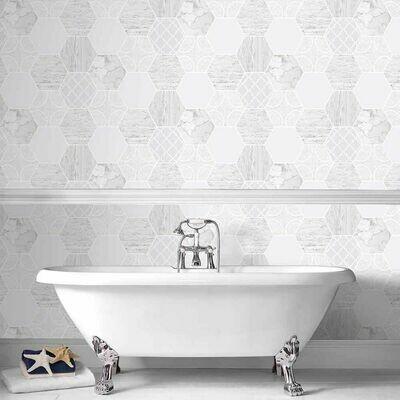 Contour Hexagonal Marble Grey Wallpaper
