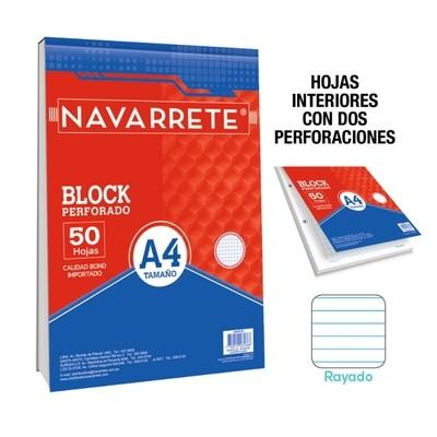 BLOCK PERFORADO A4 50 HJS RAYADO