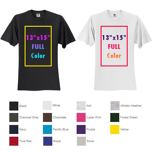 Fruit of the Loom® HD Cotton™ 100% Cotton T-Shirt with Full Color Printing - One Side