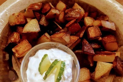 Fried Potatoes w/tzatziki