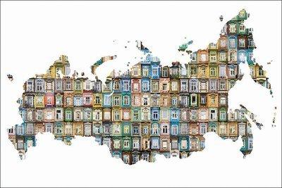 Открытка с картой России заполненной различными наличникам