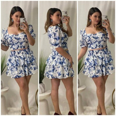 White and Blue Flowers Mini Dress