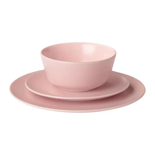 ДИНЕРА Сервиз,18 предметов, светло-розовый, бежевый, серо-синий, темно-серый