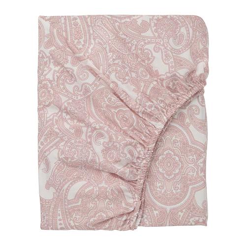 ЙЭТТЕВАЛЛМО Простыня натяжная, белый, розовый  90х200