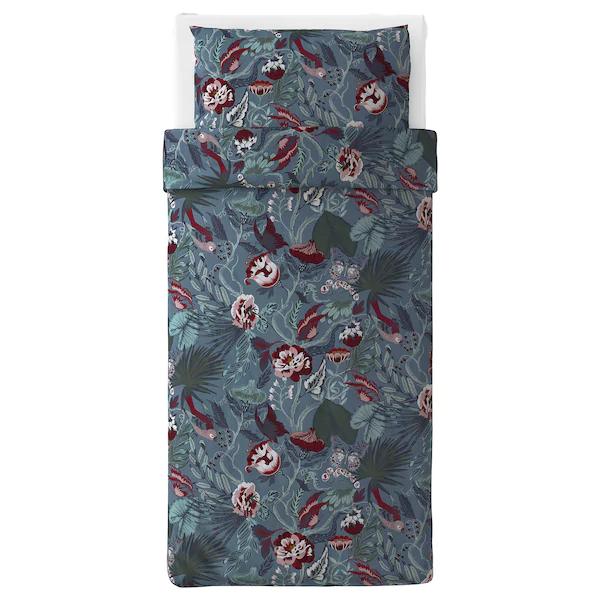 ФИЛОДЕНДРОН Пододеяльник и 1 наволочка, темно-синий, с цветочным орнаментом, 150x200/50x70 см