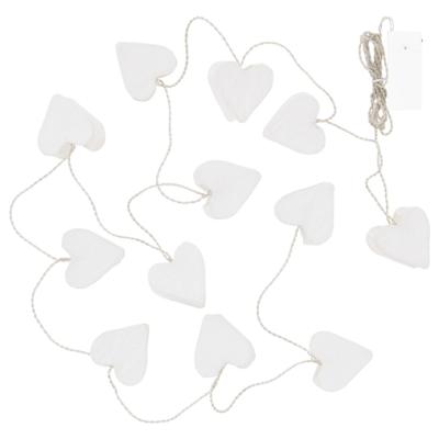 СТРОЛА Гирлянда, 12 светодиодов, с батарейным питанием/сердце белый
