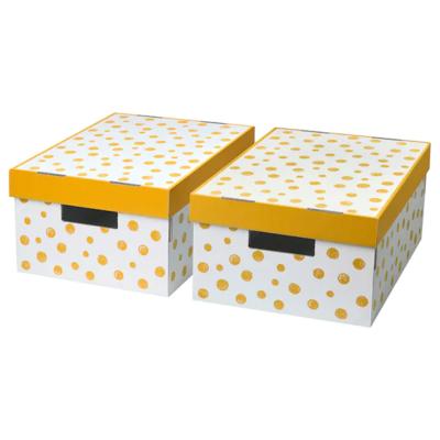 ПИНГЛА Коробка с крышкой, точечный, оранжевый, 28x37x18 см