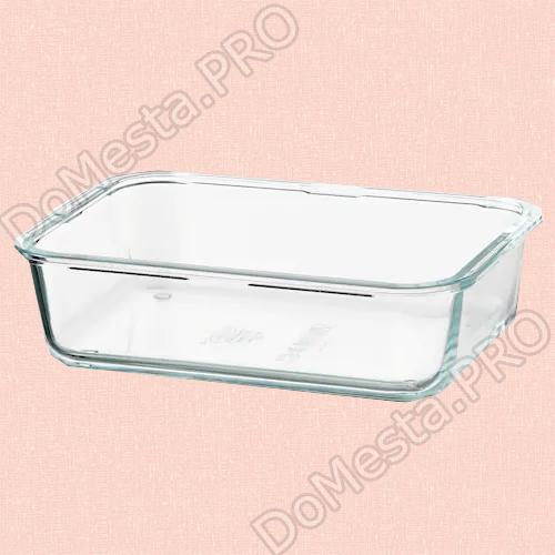 ИКЕА/365+ Контейнер для продуктов, прямоугольн формы, стекло, 1.0 л