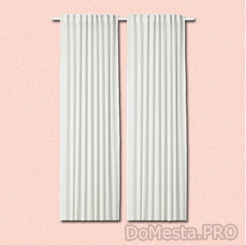 ХИЛЬЯ Гардины, 1 пара, белый, 145x300 см