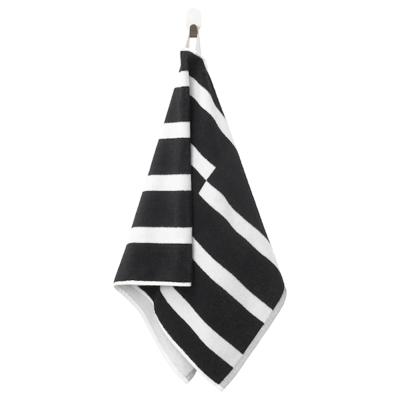 КИННЕН Полотенце, черный/белый, 50x100 см