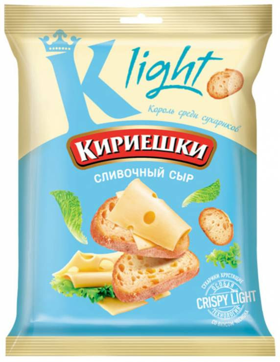 Сухарики Кириешки, сливочный сыр, light, 33гр