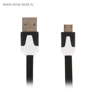Кабель LuazON, micro USB - USB, 1 А, 1 м, плоский, чёрный