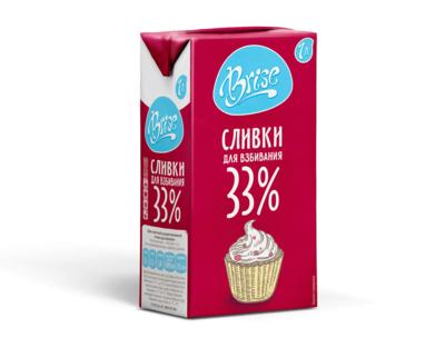 """Сливки для взбивания ультрапастеризованные """"Brise"""" жирные 33%, 1 литр"""