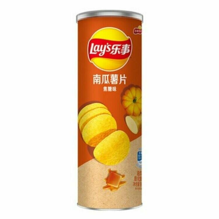 Чипсы Lay's stax из картошки и тыквы со вкусом карамели, 90 гр