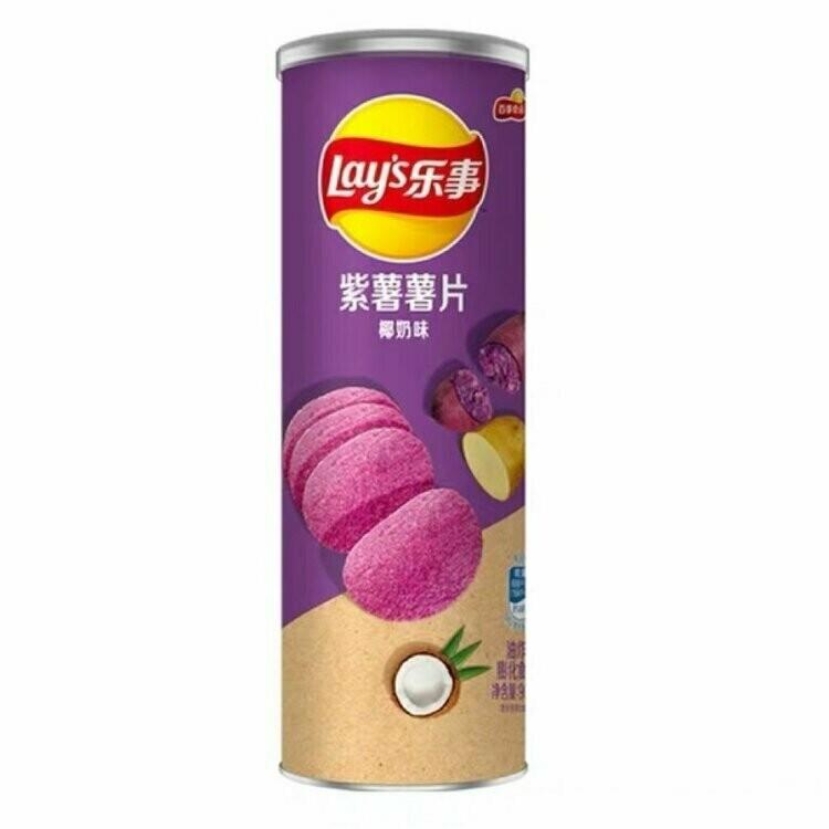 Чипсы Lay's stax из фиолетового и белого картофеля со вкусом кокоса, 90 гр