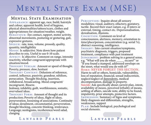 Medical Nursing Psychiatry PVC Lanyard Reference Card - Mental State Exam MSE