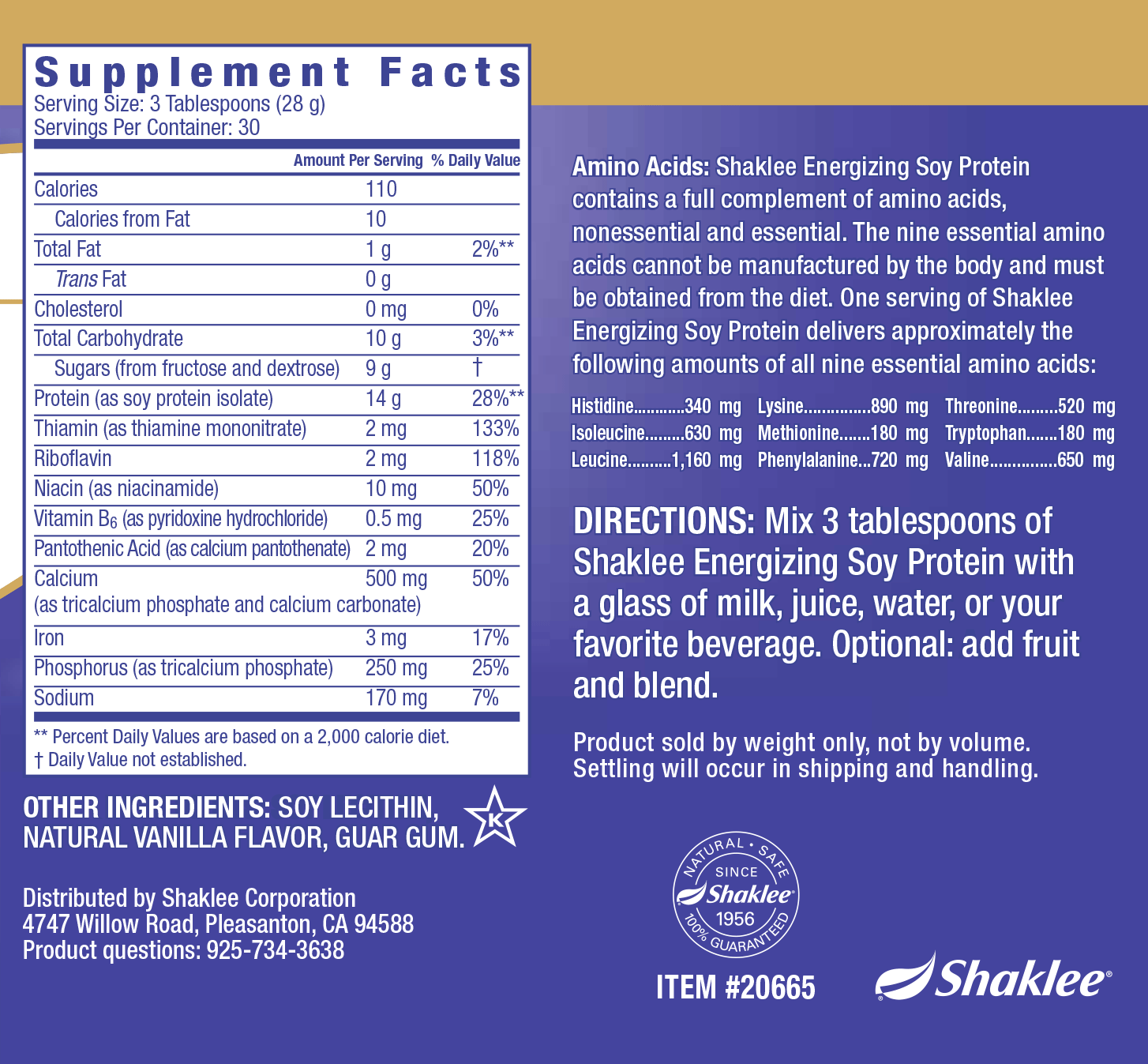 Energizing Soy Protein Label