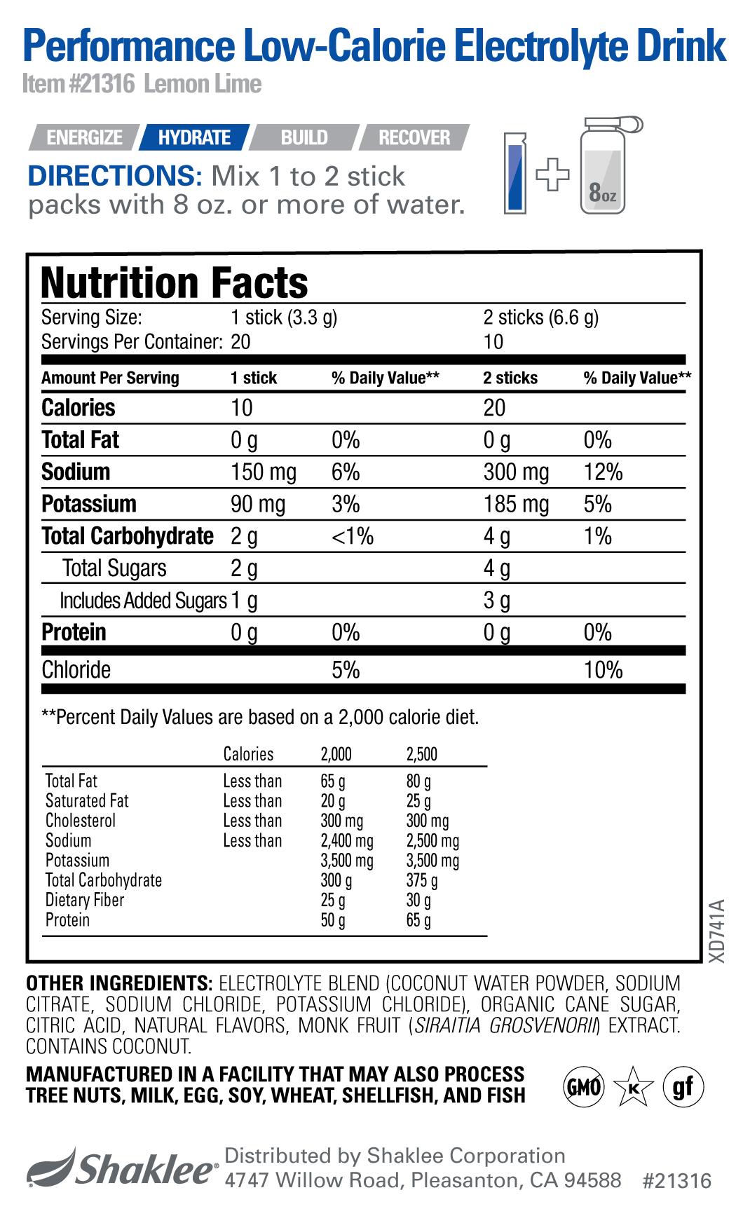 Low Calorie Electrolyte Drink LEMON-LIME