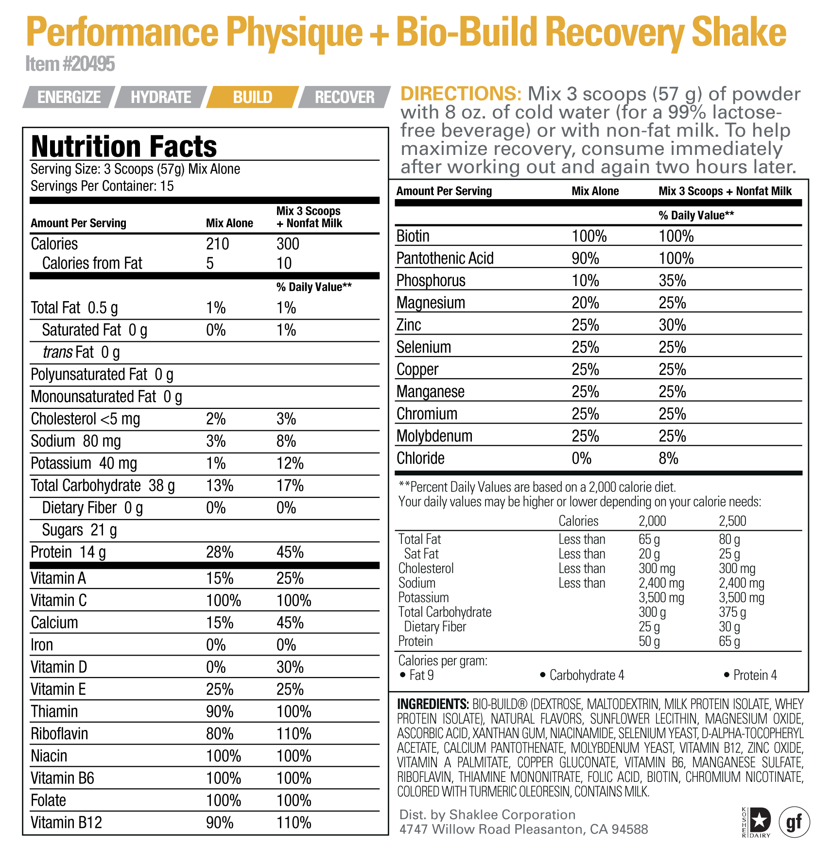 Performance Physique+Bio-Build Recovery Shake