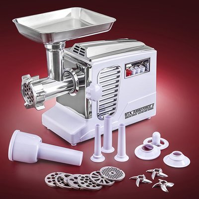 STX Turboforce II 4000 Series Electric Meat Grinder with Foot Pedal - Size #12 - WHITE STX-4000-TB2-WH-PD