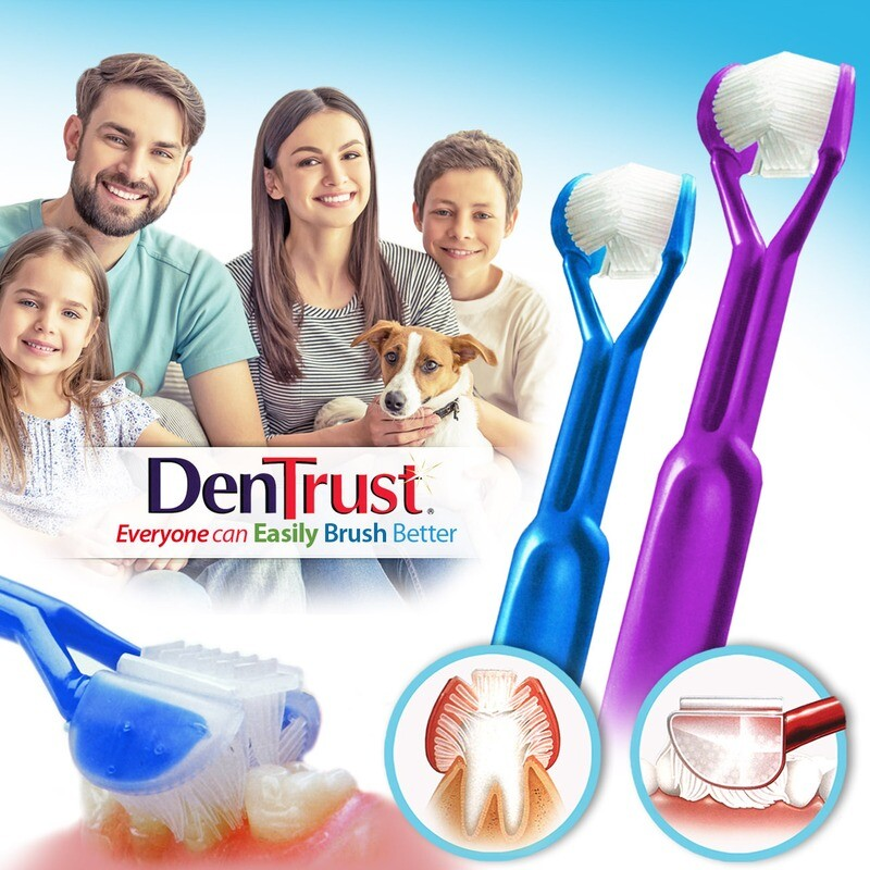 2-PK: DenTrust 3-SIDED Toothbrush - Easily Brush Better - Clinically Proven Results  :: Fast, Easy & More Effective for the Whole Family - Adults, Teens, Children & Special Needs