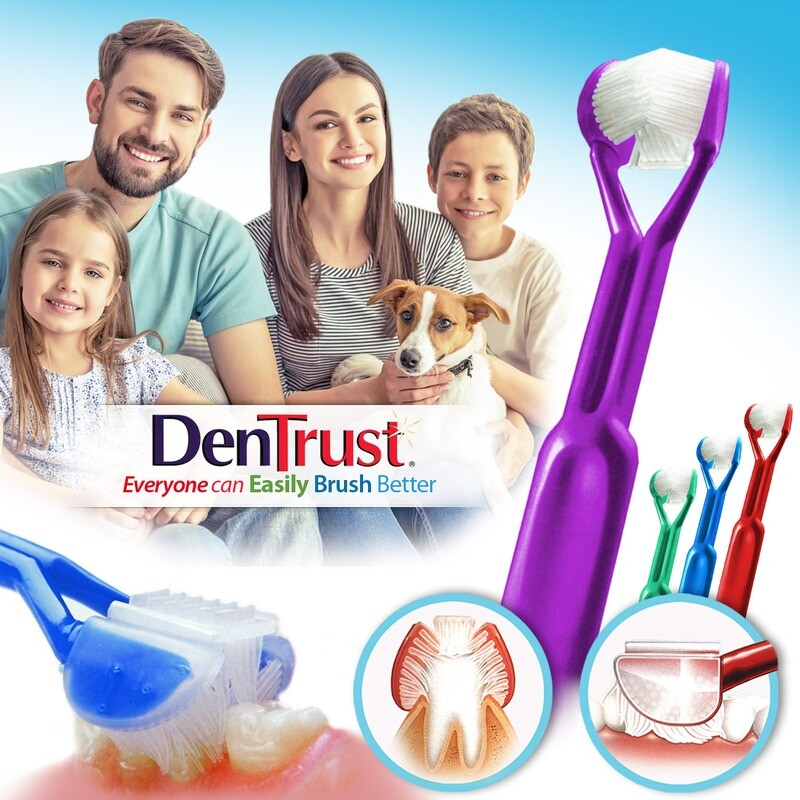 4-PK: DenTrust 3-SIDED Toothbrush - Easily Brush Better - Clinically Proven Results  :: Fast, Easy & More Effective for the Whole Family - Adults, Teens, Children & Special Needs