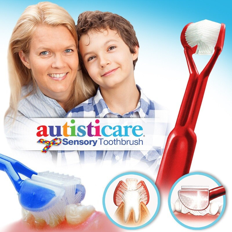 Autisticare Sensory Toothbrush :: Special Needs 3-Sided Toothbrush :: Fast, Easy & More Effective :: Complete Dental Care for Autism ASD Autistic