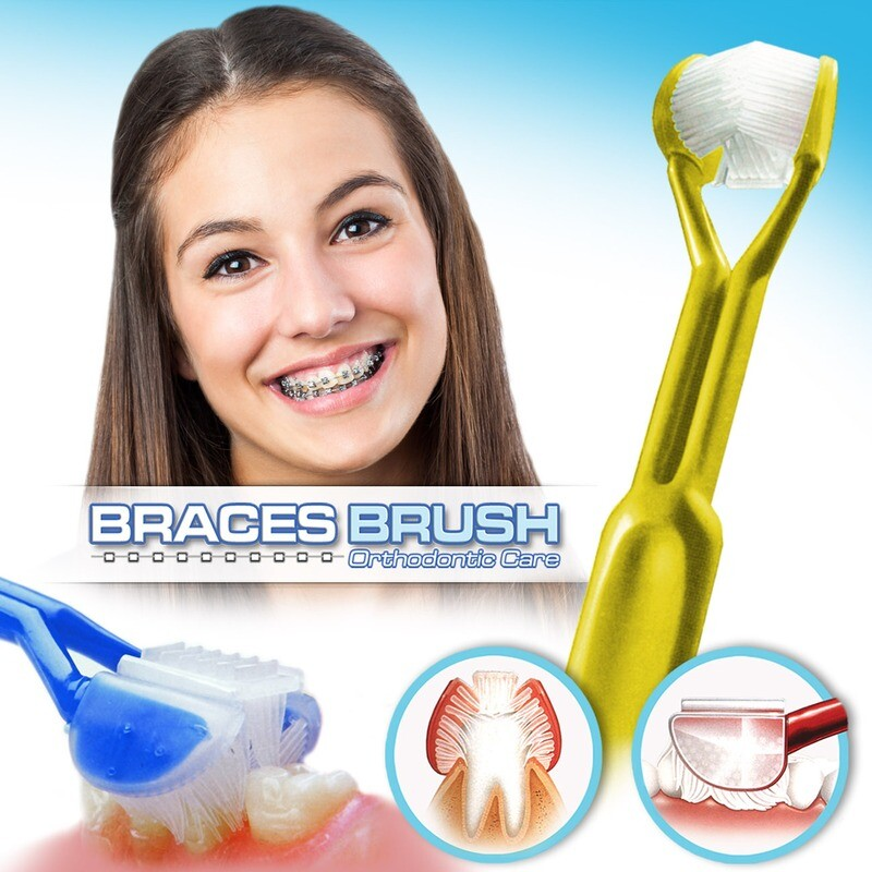 DenTrust BRACES BRUSH :: 3-Sided Toothbrush :: Clinically Proven to Remove More Plaque Around Bracket's & Orthodontics :: Fast, Easy & More Complete Dental Care