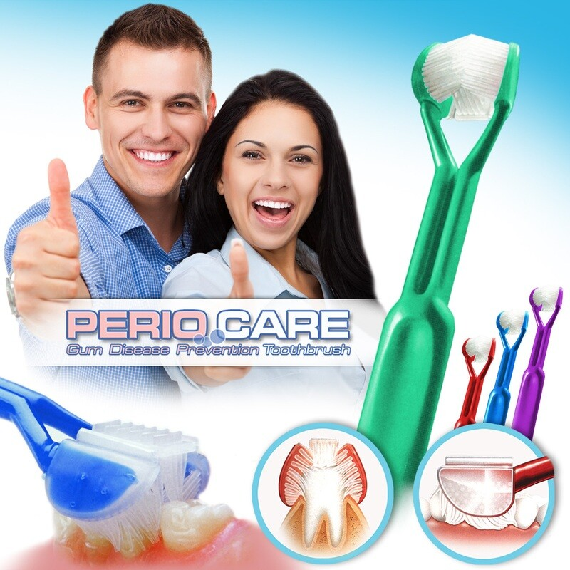 4-PK: DenTrust PERIOCARE 3-Sided Toothbrush :: Advanced Wrap-Around Design :: Fast, Easy & More Effective :: Clinically Proven to Remove More Plaque & Prevent Gum Disease