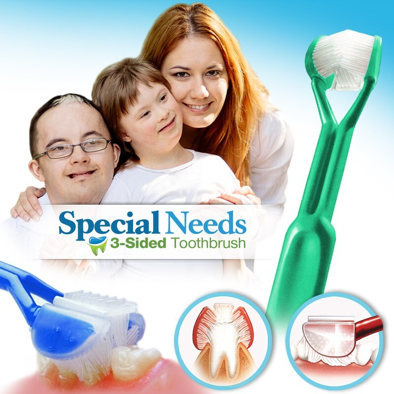 DenTrust 3-Sided Toothbrush :: Caregivers & Assisted Brushing for Special Needs :: Fast, Easy & More Effective :: Complete Dental Care Autism Autistic
