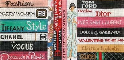 Fashion Books     (hand painted needlepoint canvas from Alice Peterson)