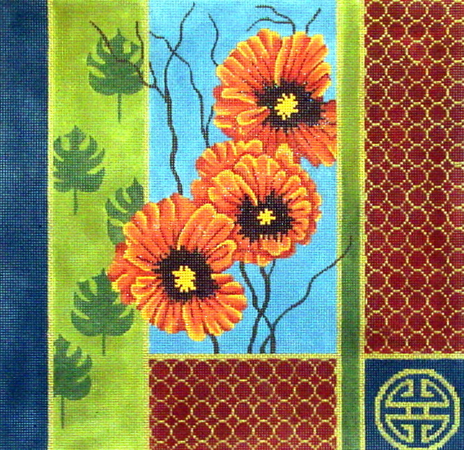 Oriental Palm Leaves & Poppies    (handpainted needlepoint canvas from JP Needlepoint)