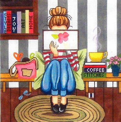 Girl Stitching    handpainted needlepoint canvas from  All About Stitching
