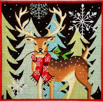 Deer - Red Scarf   (handpainted by Maggie & Co.)
