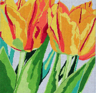 Flaming Tulips    (handpainted by Jean Smith)