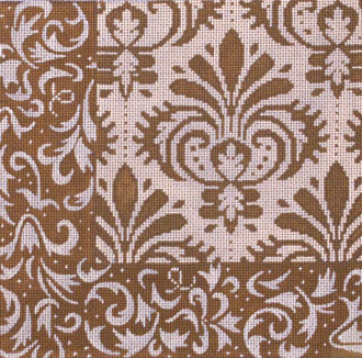 Brown Damask Patch 1   (Handpainted by JP Needlepoint)