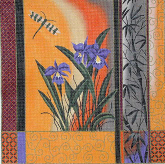 Orchid & Dragonfly   (Handpainted by JP Needlepoint)