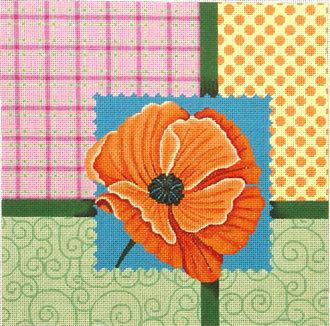 Scrapbooking Poppy   (Handpainted by JP Needlepoint)